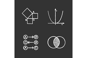Mathematics chalk icons set