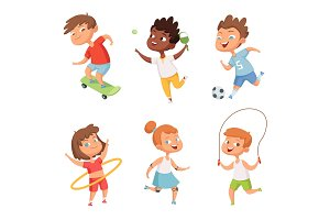 Various kids in active sports