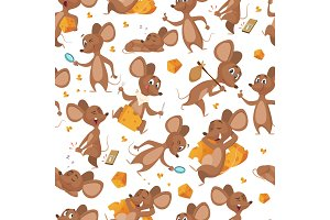 Seamless pattern mouse. Vector