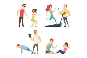 Gym training. Set of cartoon sport