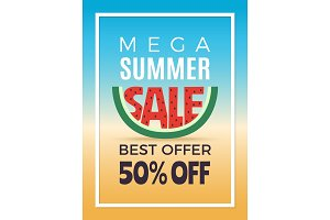 Summer sale. Design template of