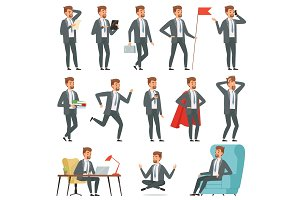 Characters of businessman. Set of