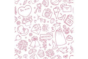 Wedding seamless pattern. Vector