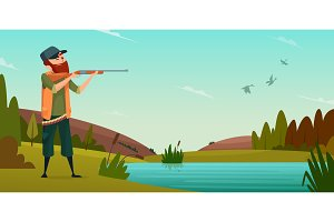 Duck hunting background. Cartoon