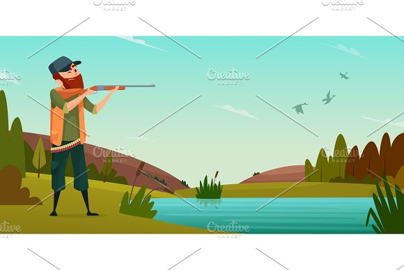 Duck hunting background. Cartoon ~ Graphics ~ Creative Market on gopher on golf course, cow on golf course, snake on golf course, rattlesnake on golf course, lion on golf course, deer on golf course, baboon on golf course, kangaroo on golf course, dog on golf course, sheep on golf course,