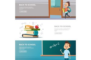 School banners. Illustrations of