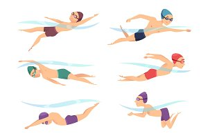Swimmers at various poses. Cartoon