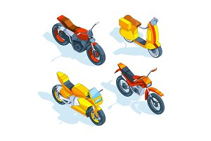 Motorcycles isometric. 3d vector