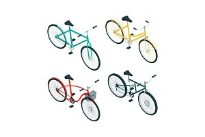 Bicycles isometric. Various types of