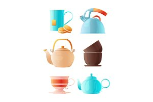 Teapots set. Vector cartoon pictures