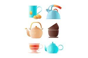 Teapots set. Vector cartoon pictures