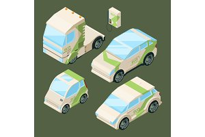 Isometric electric cars. Various eco