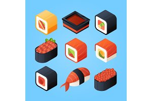 Asian isometric food. Sushi, rolls