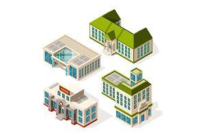 School buildings. Isometric 3d