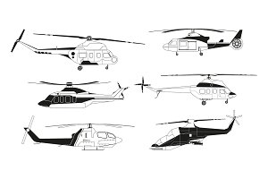 Black helicopters silhouettes