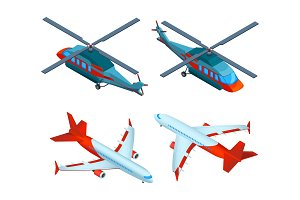 Helicopters isometric. 3d pictures
