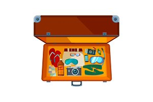 Open suitcases. Illustration of open