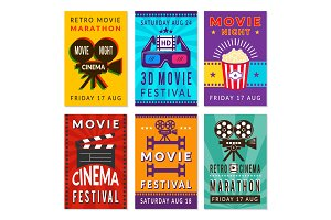 Template of cinema cards. Vector
