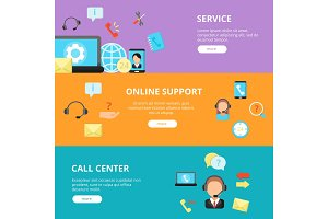Banners set of call center support