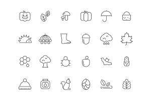 Linear autumn symbols. Vector icons