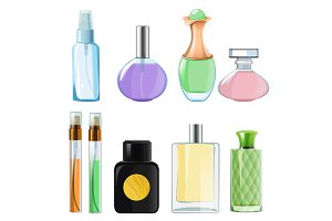 Woman perfumes. Glass bottles of
