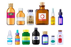 Various medical bottles. Health care