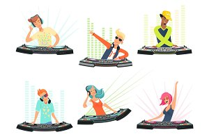 DJ characters. Vector illustrations
