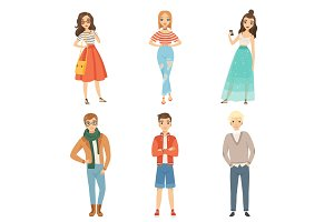 Fashionable guys and girls. Cartoon