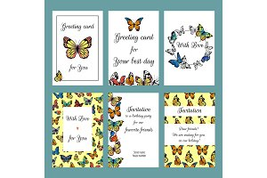 Cards with butterflies. Design