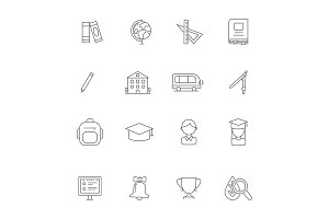 School line icons. Science linear
