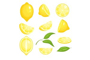 Fresh lemons collection. Yellow
