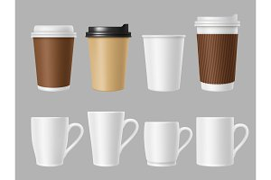 Coffee mockup cups. Blank white and