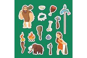 Cave people elements. Vector cartoon