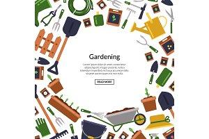 Vector flat gardening icons