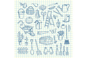 Vector gardening doodle icons on