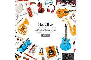 Vector cartoon musical instruments