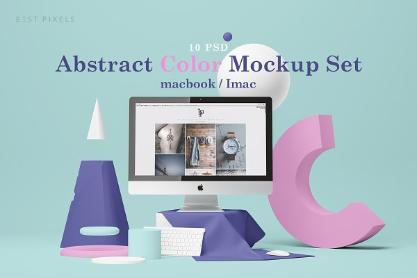 Mobile &amp&#x3B; Web Mockups: Best Pixels - Abstract Color Mockup Set