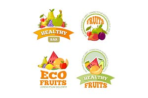 cartoon fruits labels. colorful