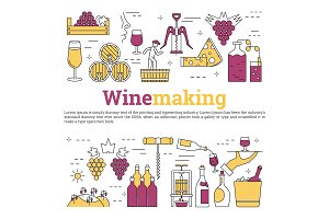 Square web banner - wine making