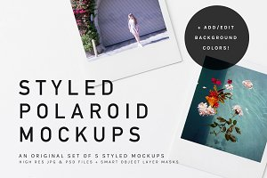 Square Polaroid Mockup Bundle psd