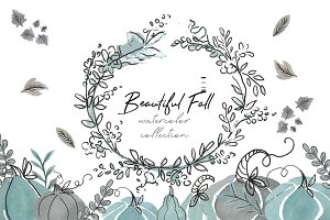 Beautiful Fall watercolor collection