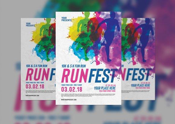 color run festival flyer flyer templates creative market