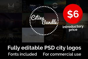 Cities Logo Bundle • 50% off