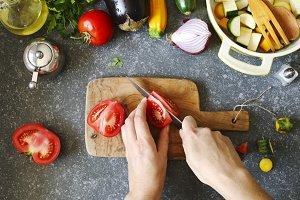 Preparing for vegetable ragout