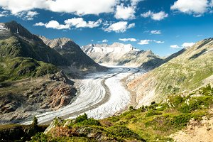 Scenic view on Great Aletsch Glacier