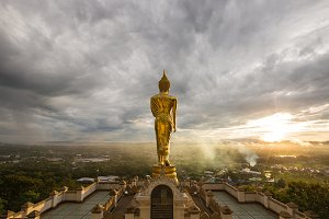 Buddha is on top of the city.