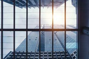 Office building windows. Glass archi