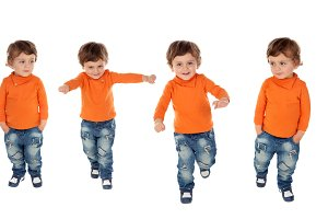 Sequence of four active children