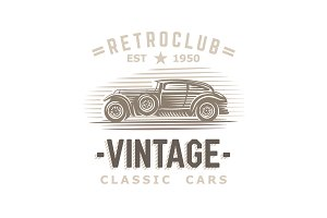 Retro car logo template. Vector.