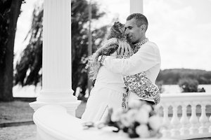 Romantic young wedding couple in ukr